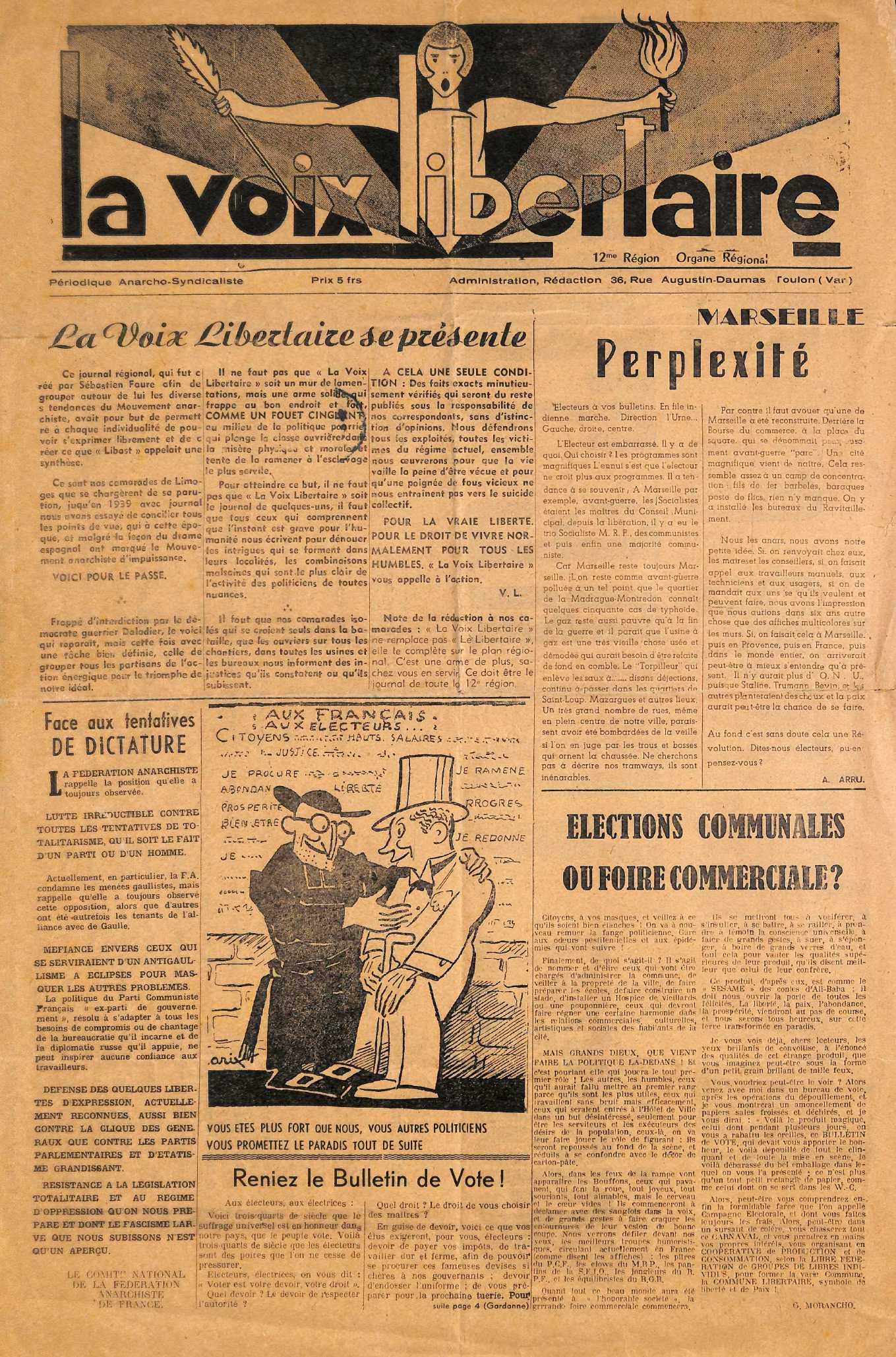 """Portada de """"La Voix Libertaire"""""""