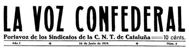 """Cabecera de """"La Voz Confederal"""""""