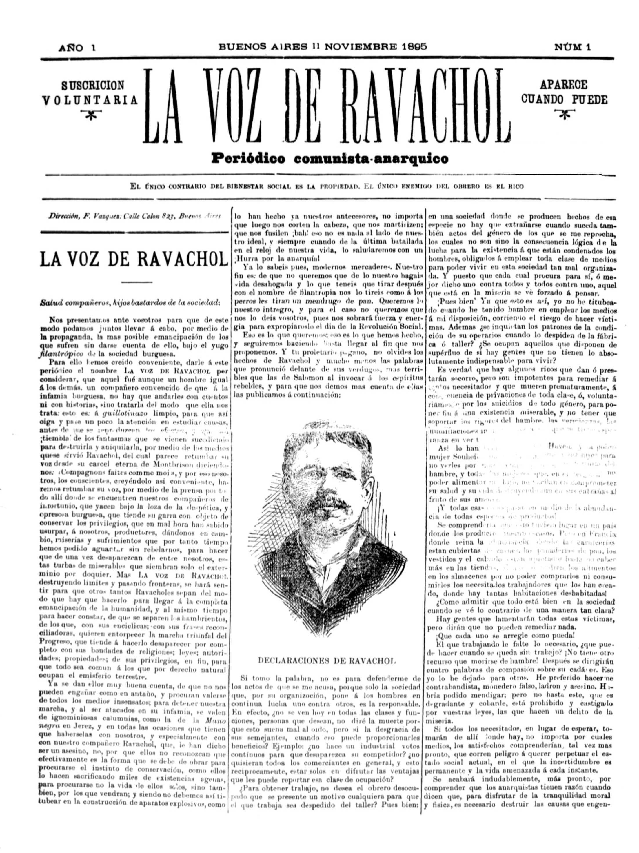 "Portada del primer número de ""La Voz de Ravachol"""