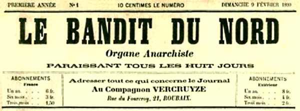 """Capçalera del primer número de """"Le Bandit du Nord"""""""