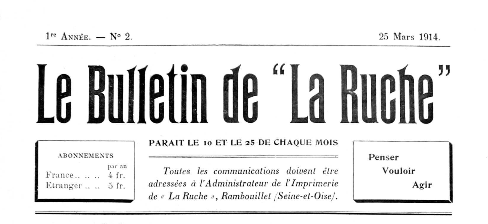"""Capçalera de """"Le Bulletin de 'La Ruche'"""""""