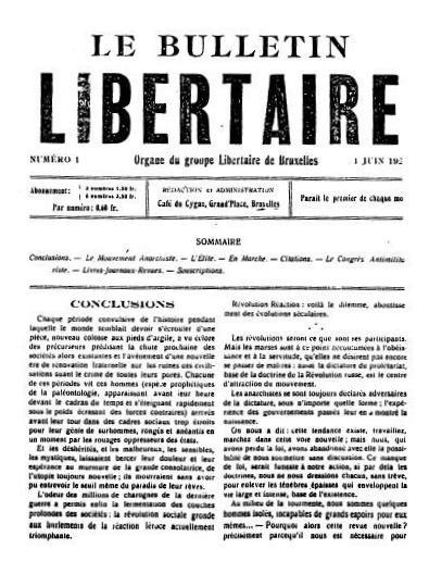 """Portada del primer número de """"Le Bulletin Libertaire"""""""