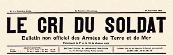 "Capçalera de ""Le Cri du Soldat"" del qual Arcole Vauloup fou gerent"