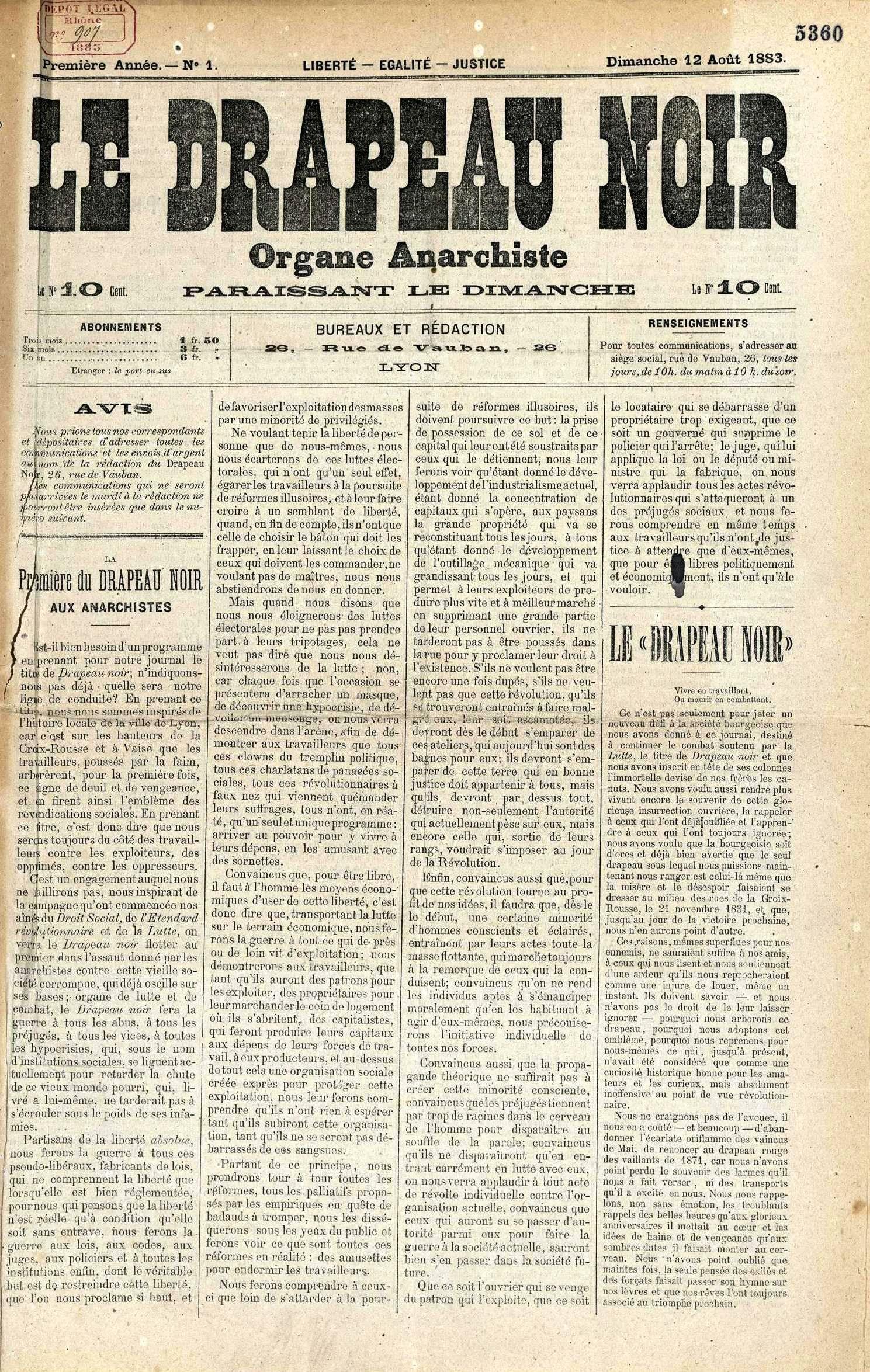 """Portada del primer número de """"Le Drapeau Noir"""""""