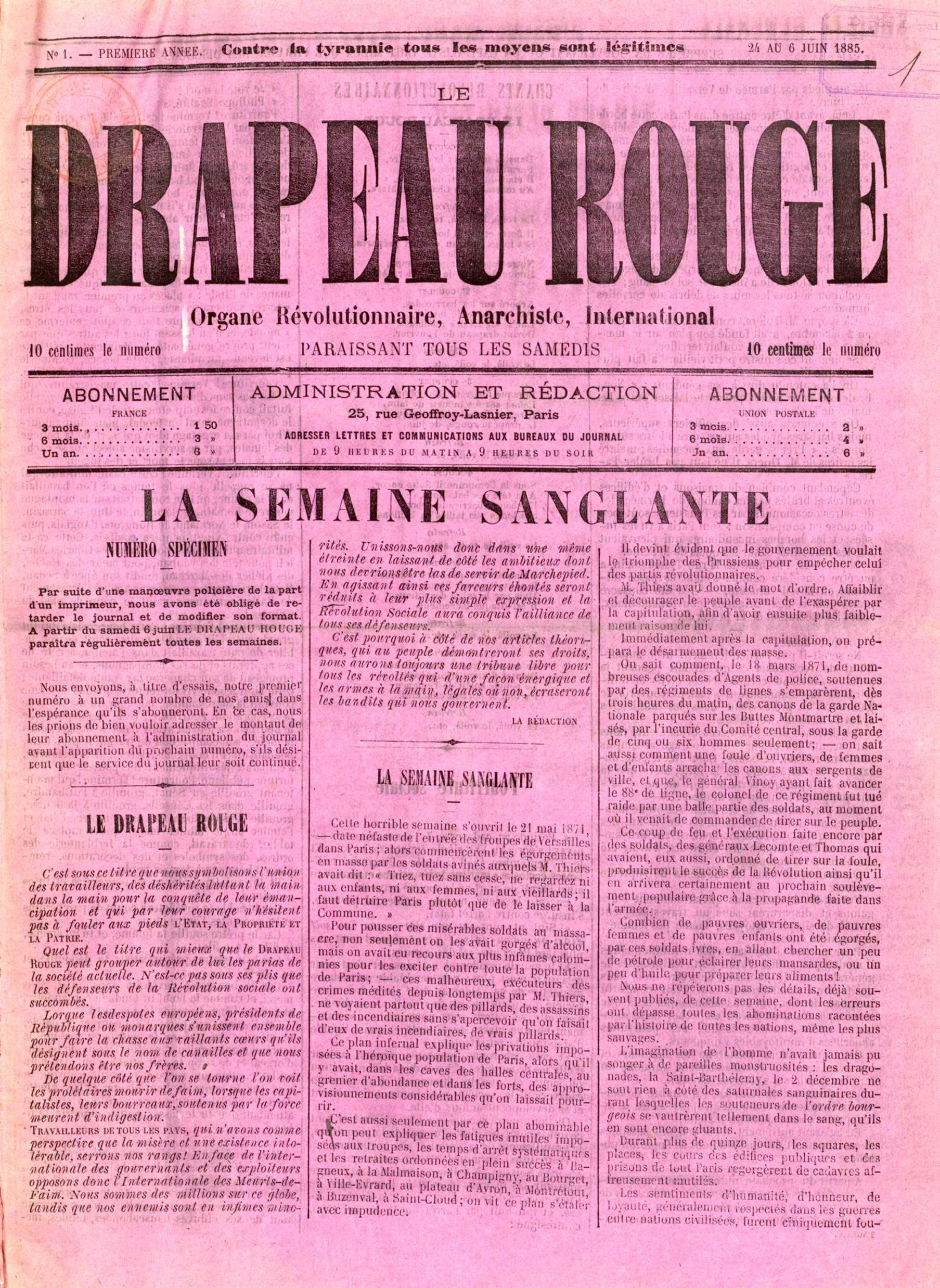 """Portada del primer número de """"Le Drapeau Rouge"""""""