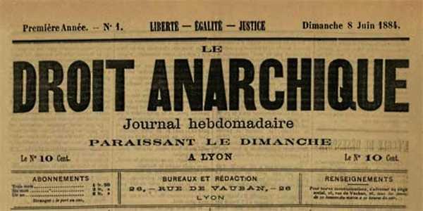 """Capçalera del primer número de """"Le Droit Anarchique"""""""