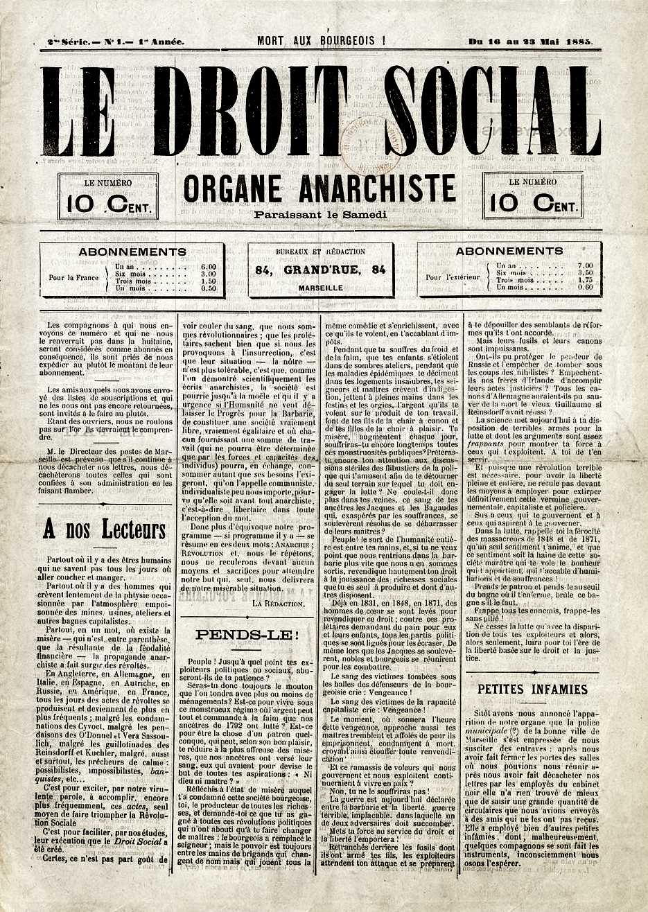 """Portada del primer número de """"Le Droit Social"""""""