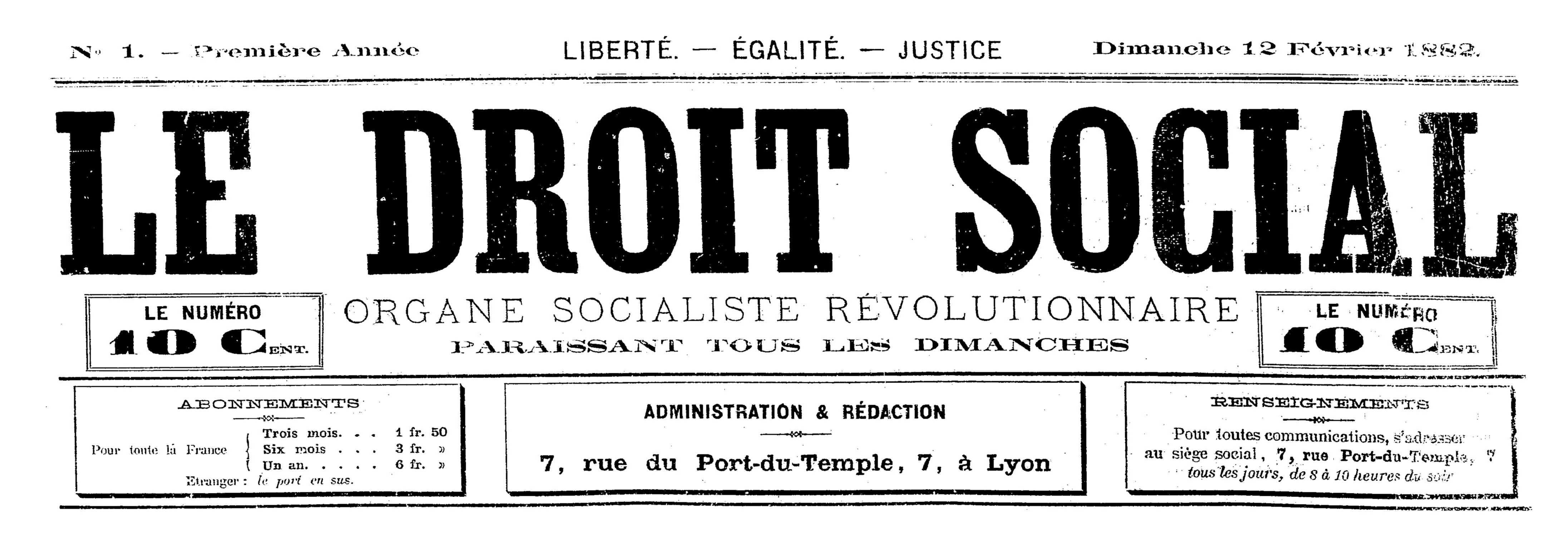 """Capçalera del primer número de """"Le Droit Social"""""""