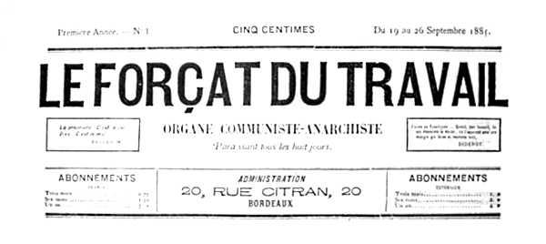 """Capçalera del primer número de """"Le Forçat du Travail"""""""