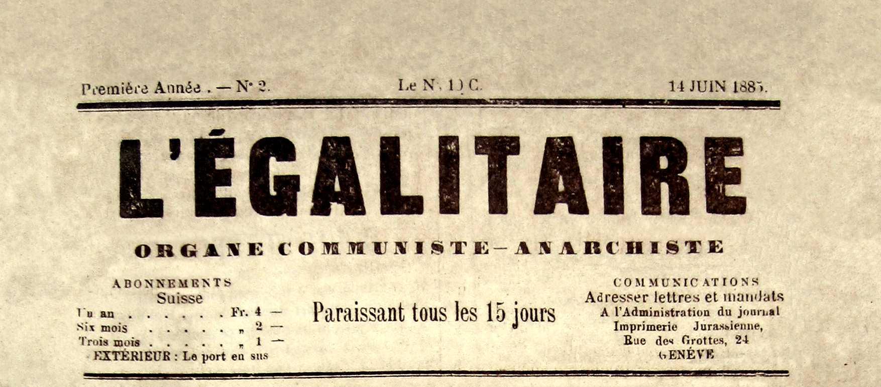 "Capçalera de ""L'Égalitaire"" [CIRA-Lausana] Foto: Éric B. Coulaud"