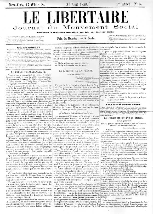 "Portada d'un exemplar de ""Le Libertaire"""