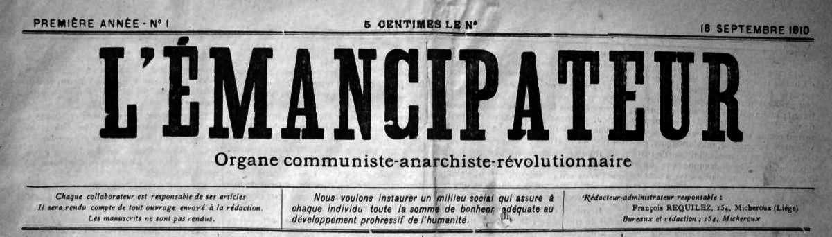 """Capçalera del primer número de """"L'Émancipateur"""""""