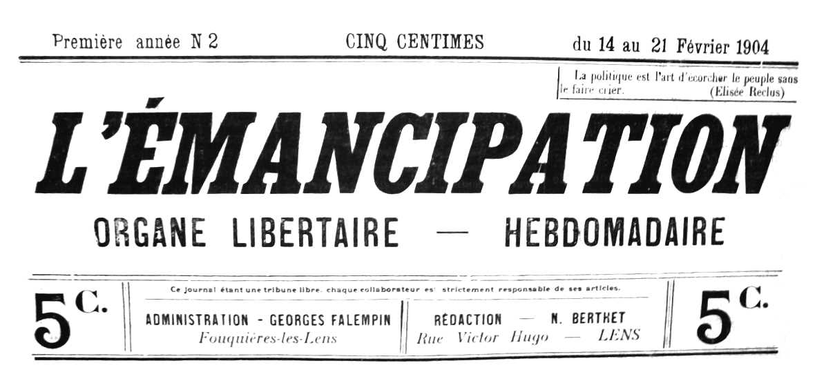 """Capçalera de """"L'Émancipation"""""""