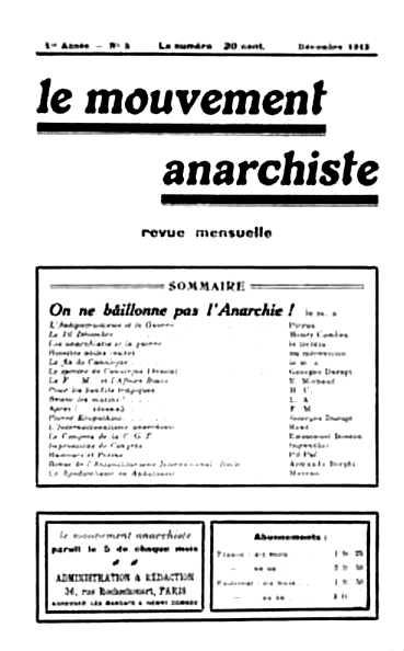 """Portada d'un número de """"Le Mouvement Anarchiste"""""""