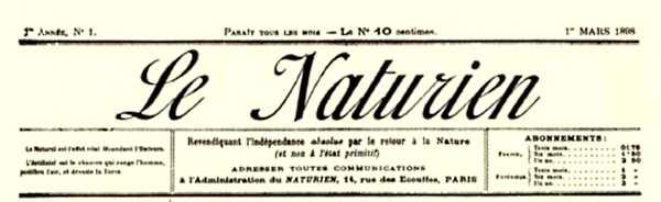 """Capçalera del primer número de """"Le Naturien"""""""