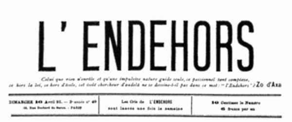 """Cabecera de """"La Endehors"""""""