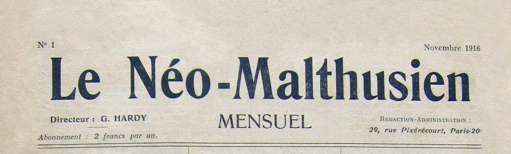 """Capçalera del primer número de """"Le Néo-Malthusien"""""""