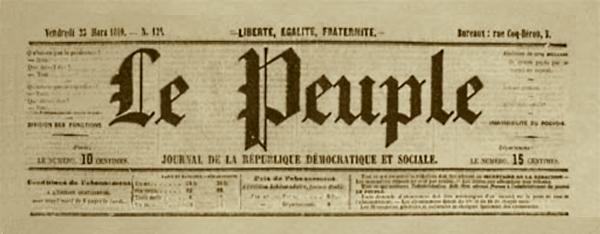 """Capçalera de """"Le Peuple"""""""