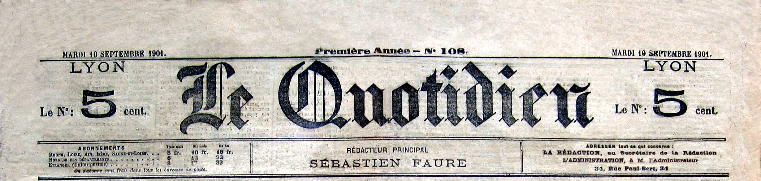 "Capçalera de ""Le Quotidien"" [CIRA-Lausana] Foto: Éric B. Coulaud"