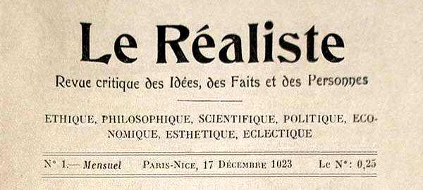 """Capçalera del primer número de """"Le Réaliste"""""""