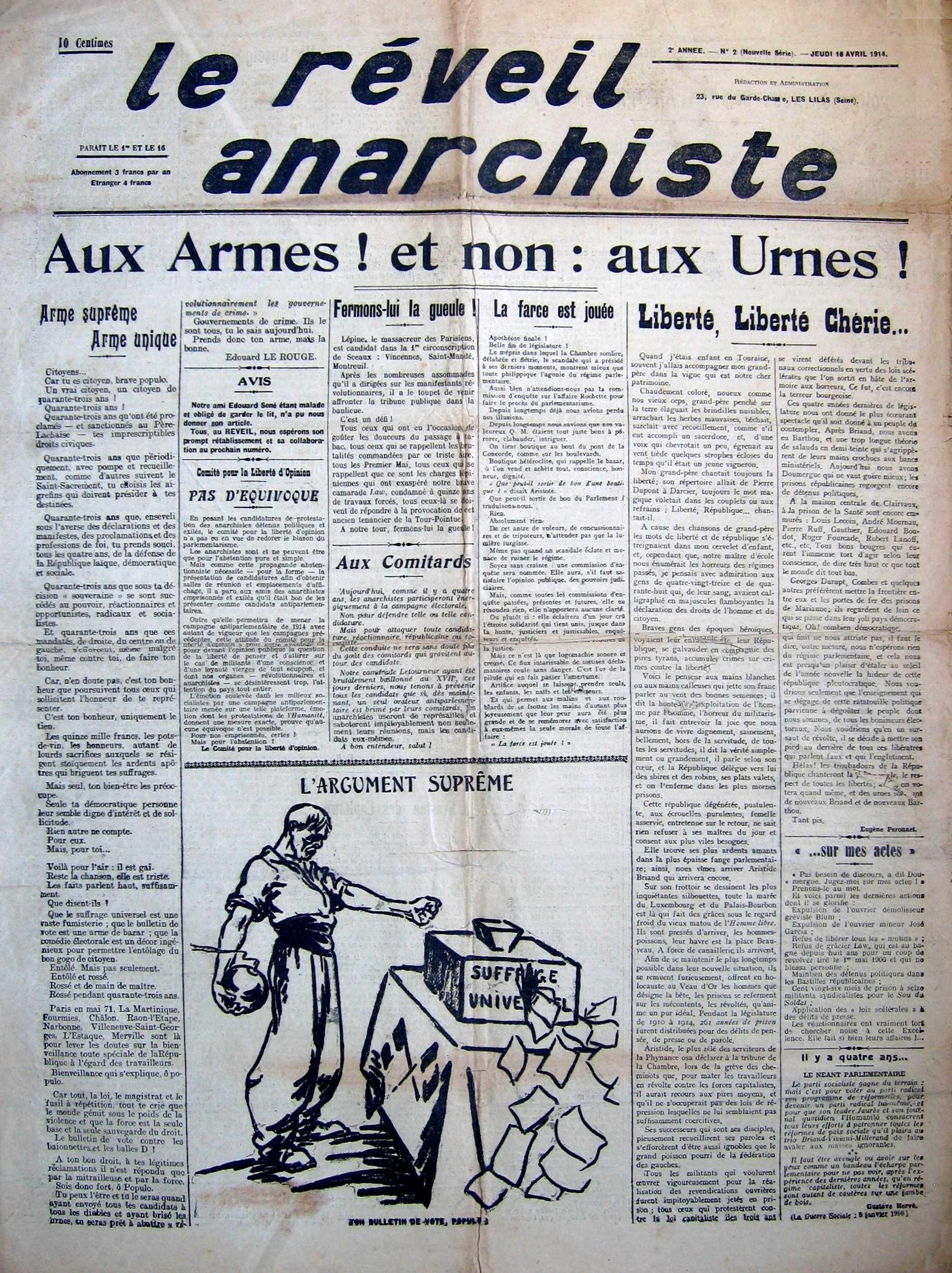 """Portada de """"Le Réveil Anarchiste"""""""