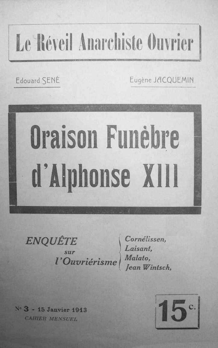 """Portada d'un exemplar de """"Le Réveil Anarchiste Ouvrier"""""""