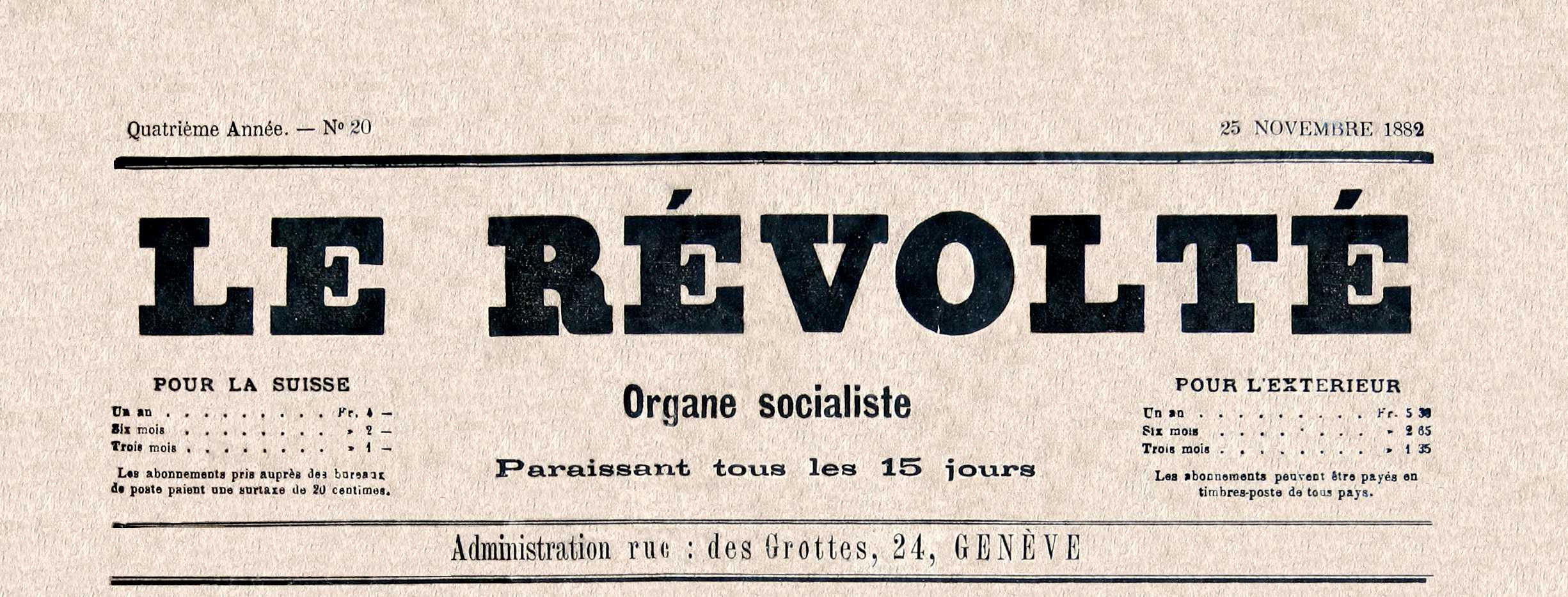 """Capçalera de """"Le Révolté"""" [CIRA-Lausana] Foto: Éric B. Coulaud"""