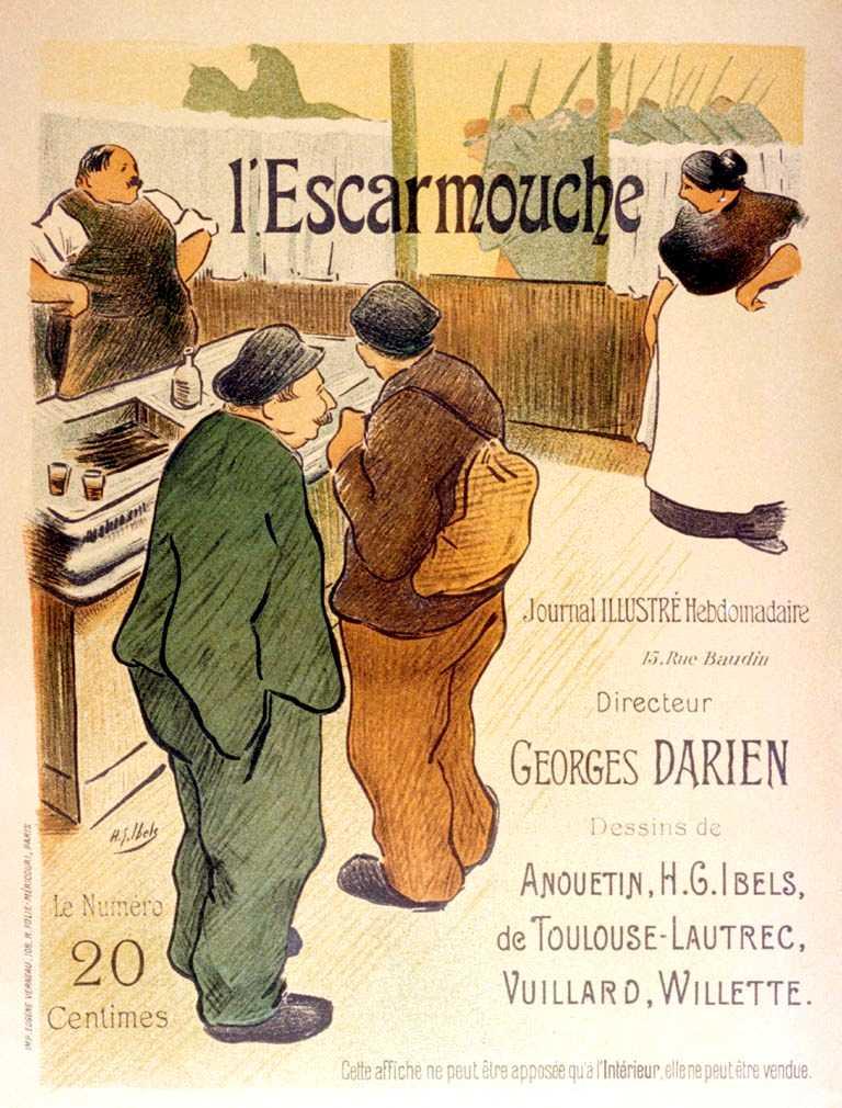 """Litografia propagandística realitzada per Henri-Gabriel Ibels per a """"L'Escarmouche"""""""