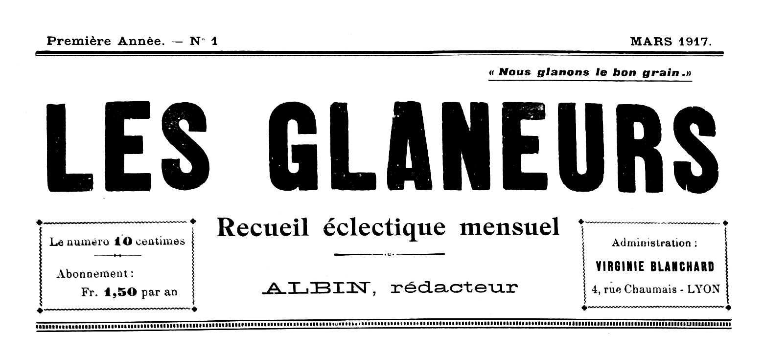 """Capçalera del primer númer de """"Les Glaneurs"""""""