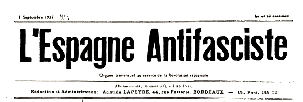 "Capçalera del primer número de ""L'Espagne Antifasciste"""