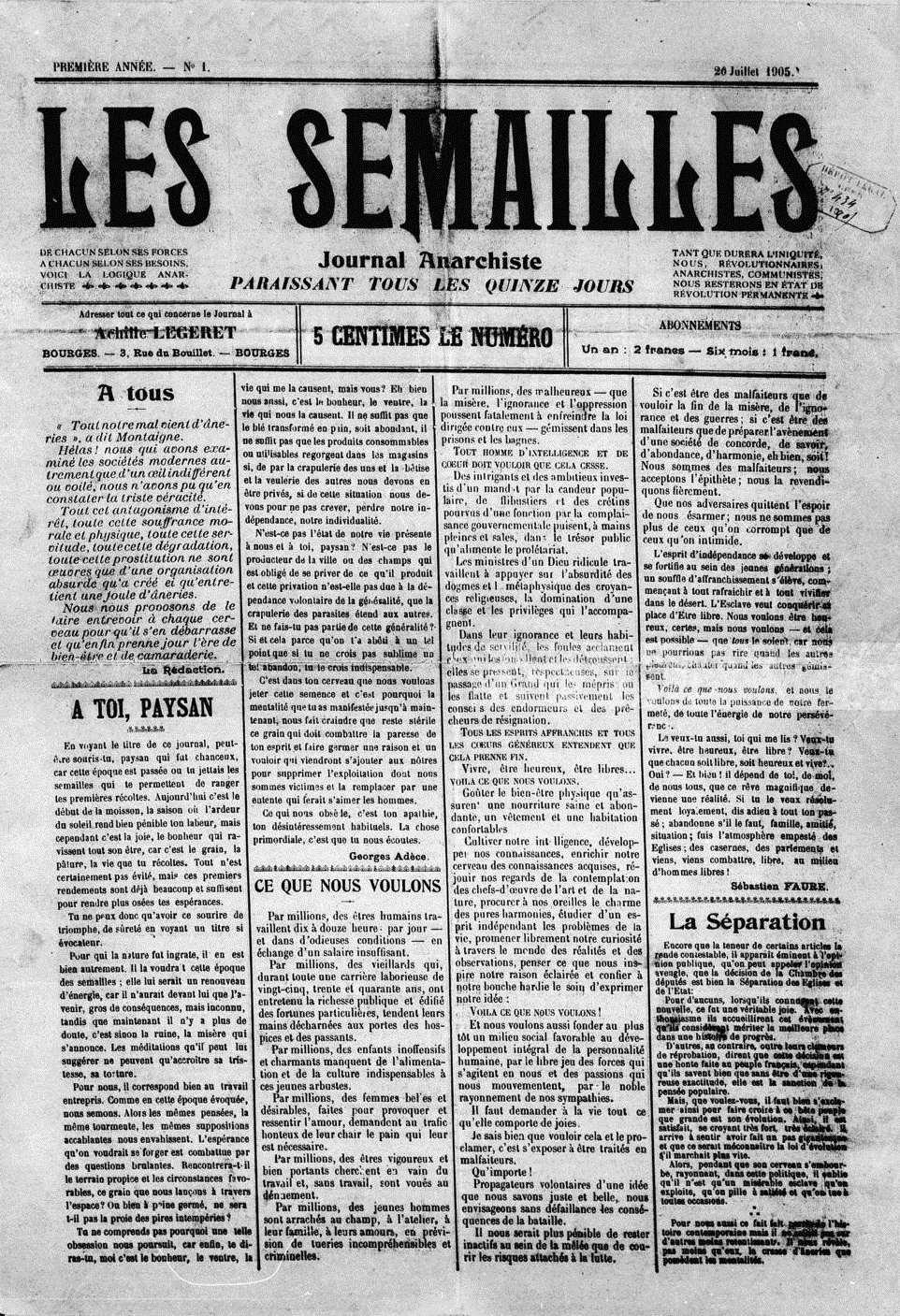 """Portada del primer número de """"Les Semailles"""""""