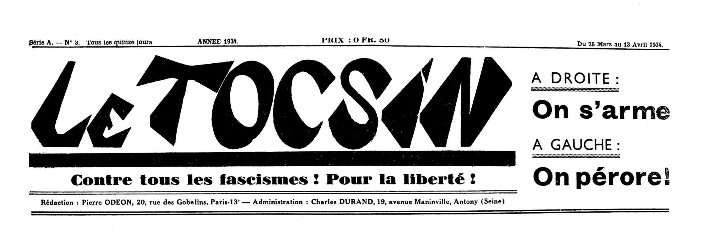 """Capçalera de """"Le Tocsin"""""""
