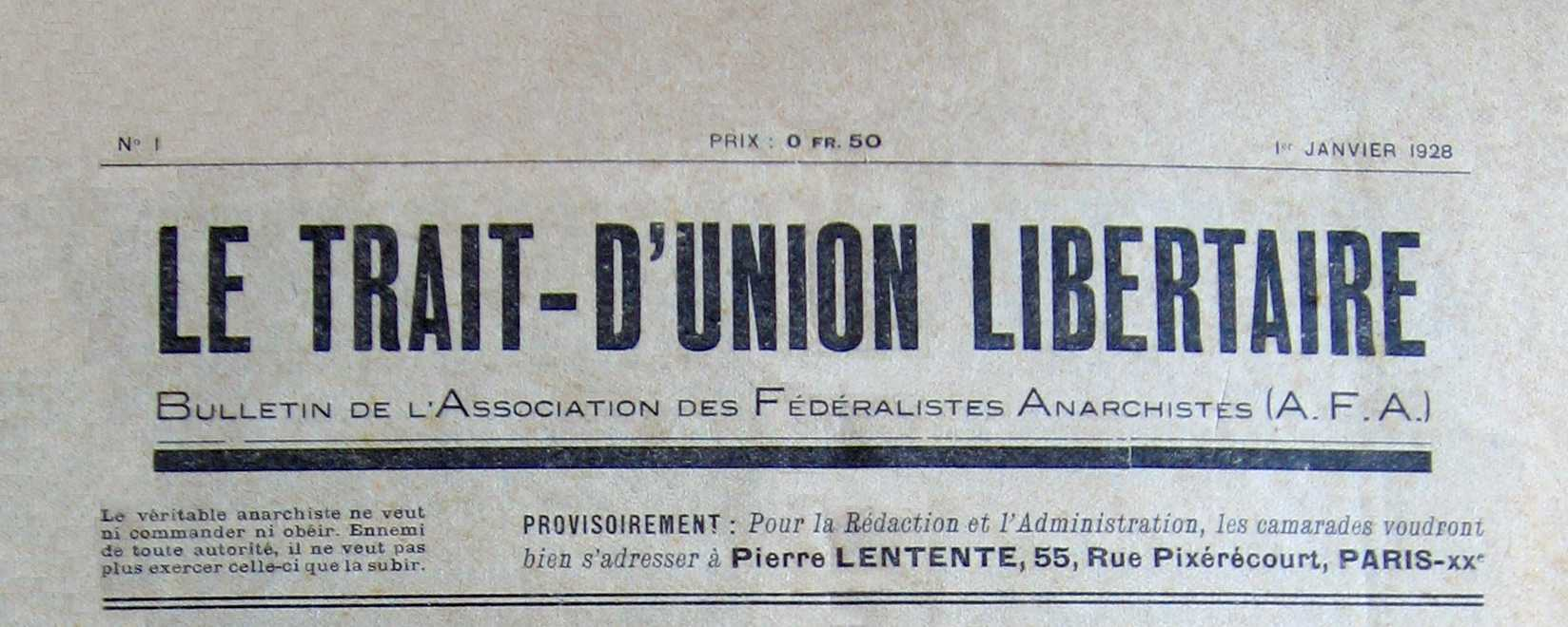 "Cabecera de ""Le Trait-d'Union Libertaire"""
