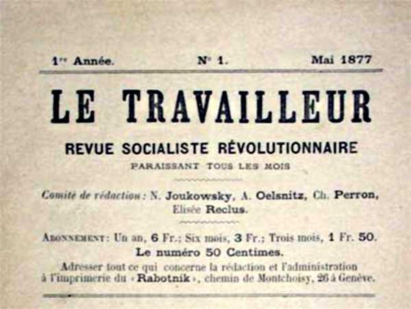 "Capçalera del primer número de ""Le Travailleur"""