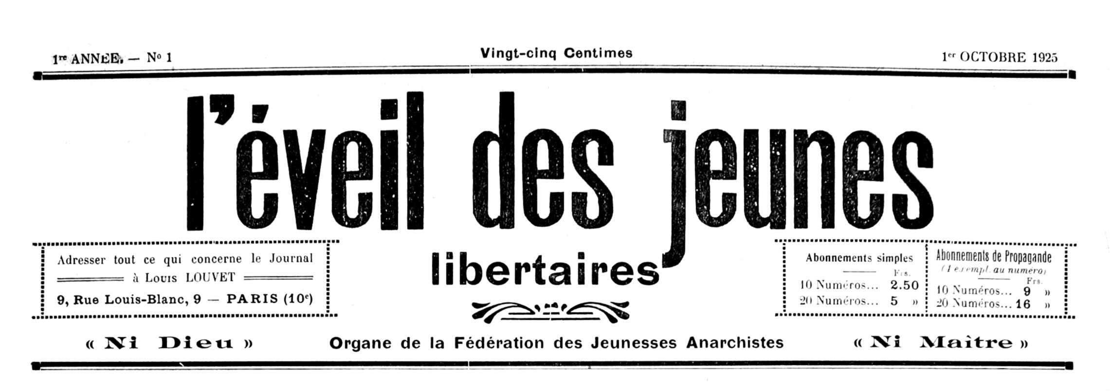 """Capçalera del primer número de """"L'Éveil des Jeunes Libertaires"""""""