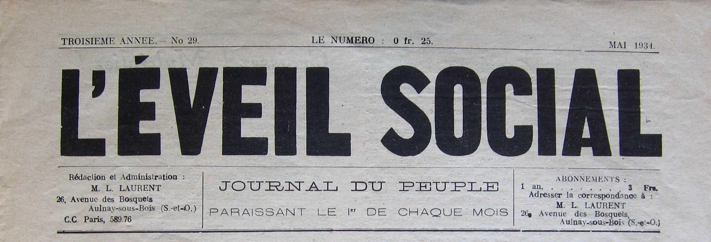 """Capçalera de """"L'Éveil Social"""" [CIRA-Lausana] Foto: Éric B. Coulaud"""