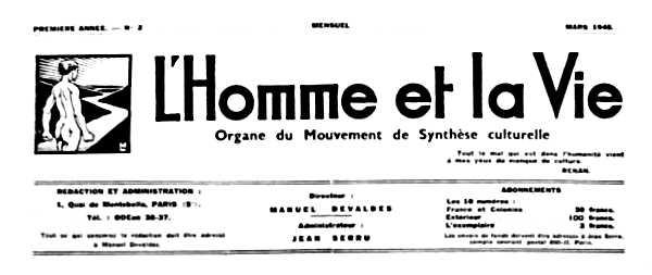"""Cabecera de """"L'Homme et la Vie"""""""