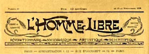 """Capçalera de """"L'Homme Libre"""""""
