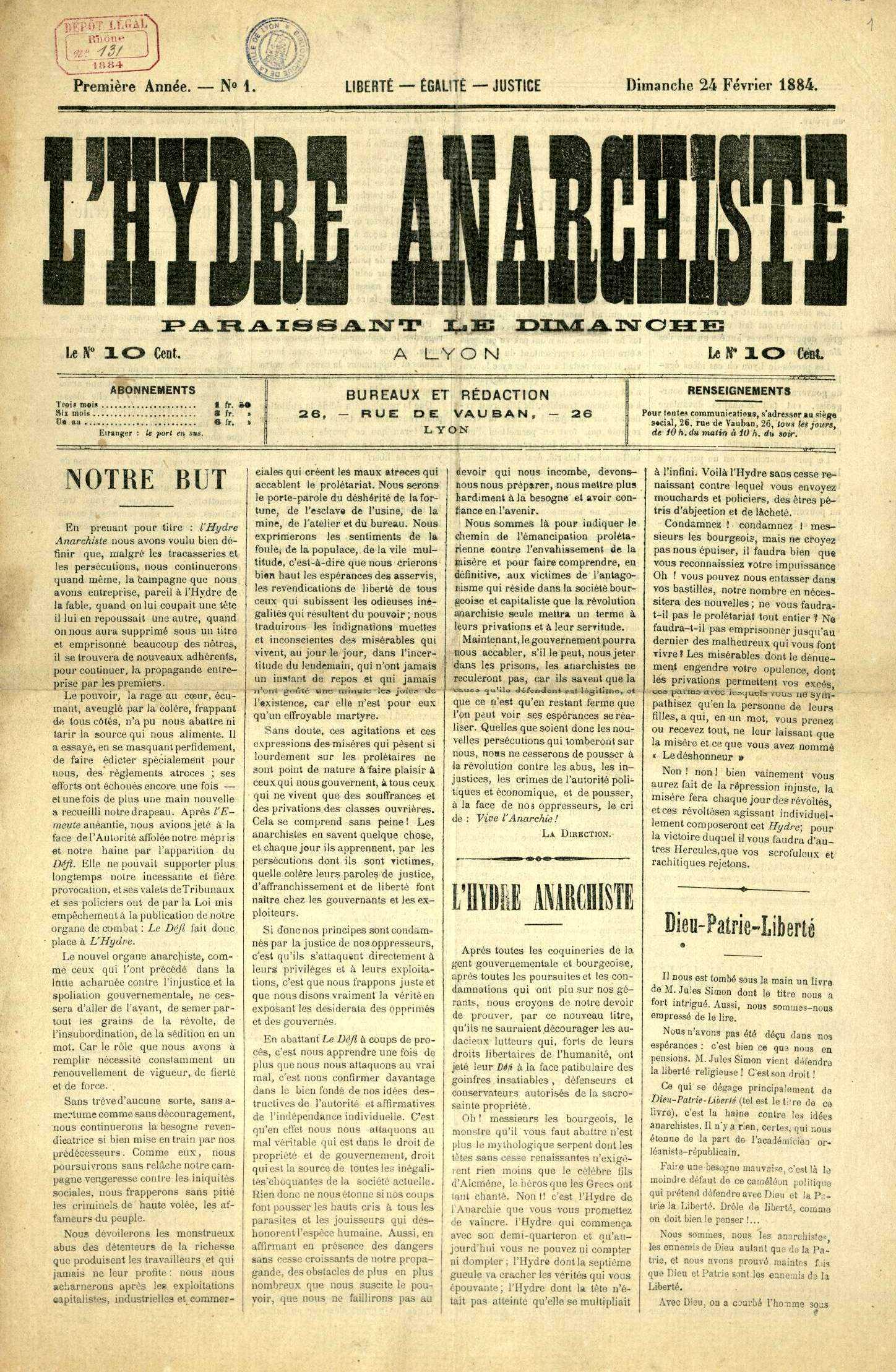 "Portada del primer número de ""L'Hydre Anarchiste"""