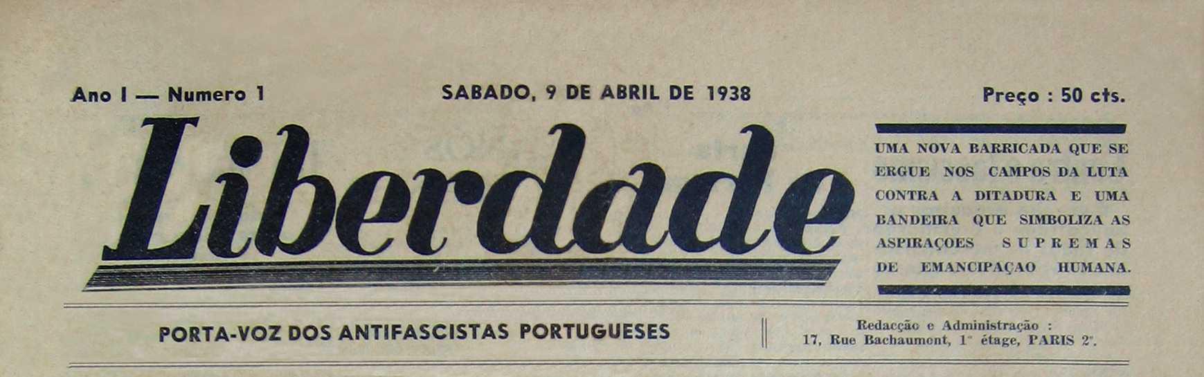 """Capçalera del primer número de """"Liberdade"""""""