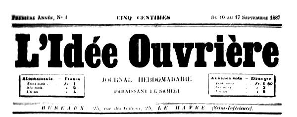 "Capçalera del primer número de ""L'Idée Ouvrière"""