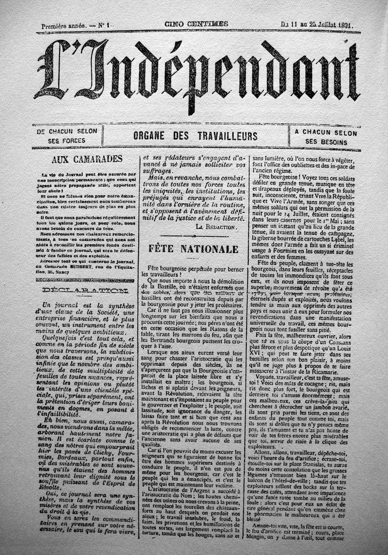 """Portada del primer número de """"L'Indépendant"""""""