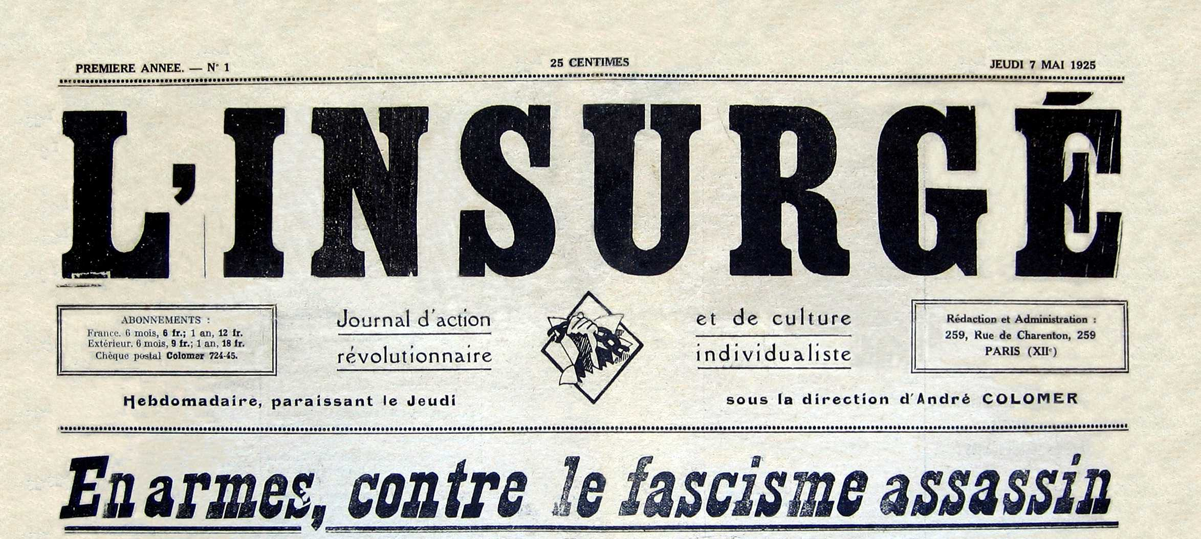 "Capçalera de ""L'Insurgé"" [CIRA-Lausana]. Foto: Éric B. Coulaud"