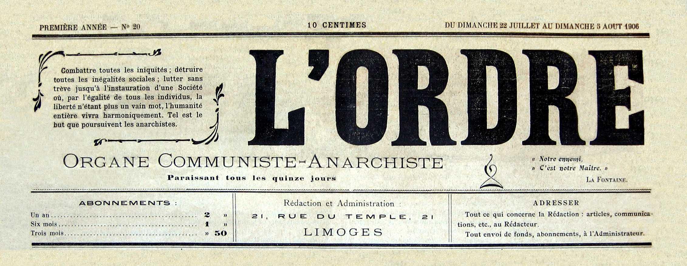 """Capçalera de """"L'Ordre"""" [CIRA-Lausana. Foto: Éric B. Coulaud]"""