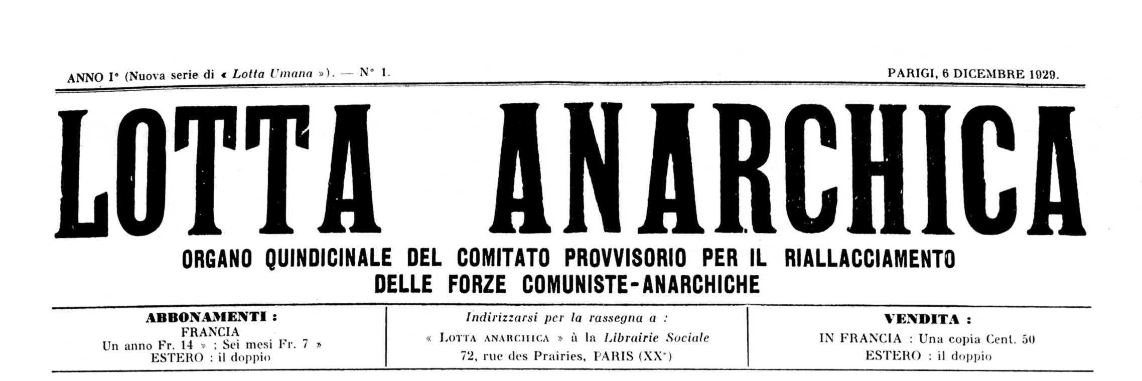 "Capçalera del primer número de ""Lotta Anarchica"""