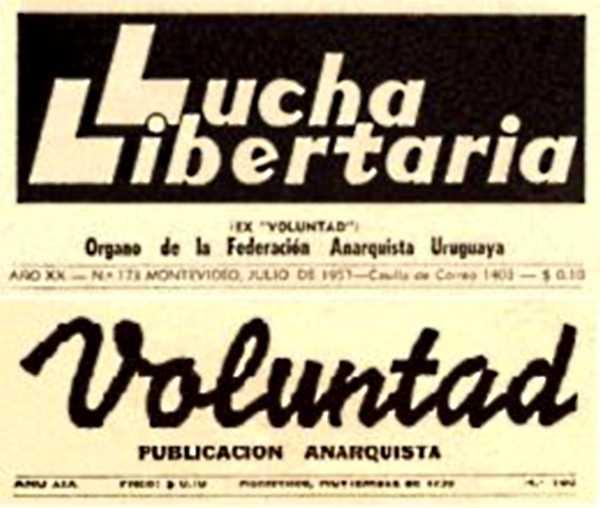 """Cabeceras de """"Lucha Libertaria"""" y de """"Voluntad"""""""