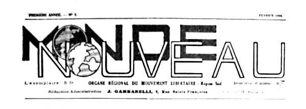 """Capçalera de """"Monde Nouveau"""""""