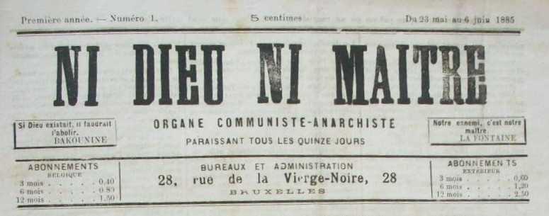 """Capçalera del primer número de """"Ni Dieu ni Maître"""""""