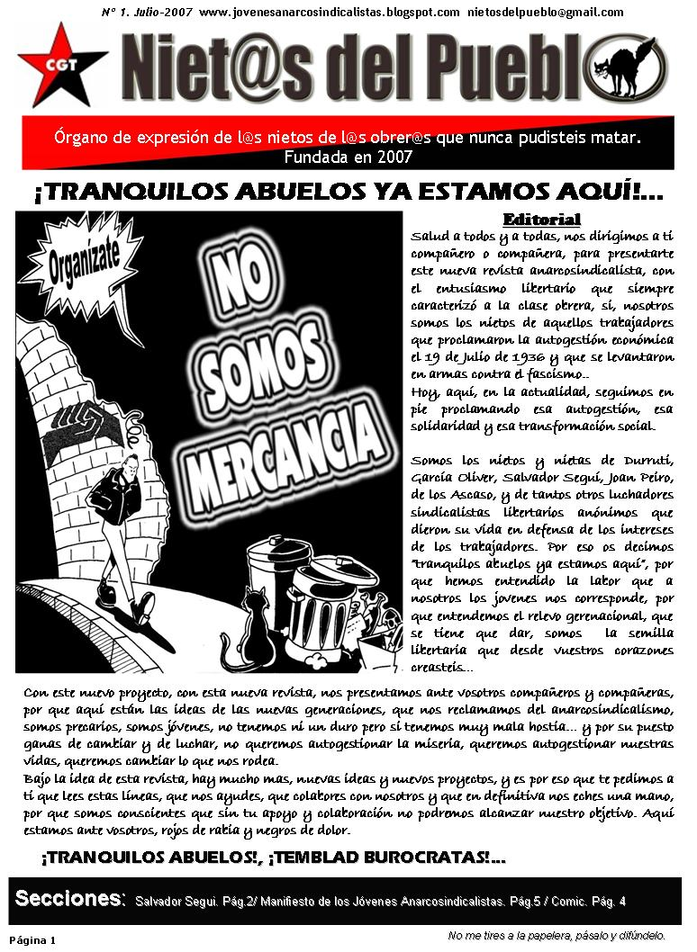 """Portada del primer número de """"Niet@s del Pueblo"""""""