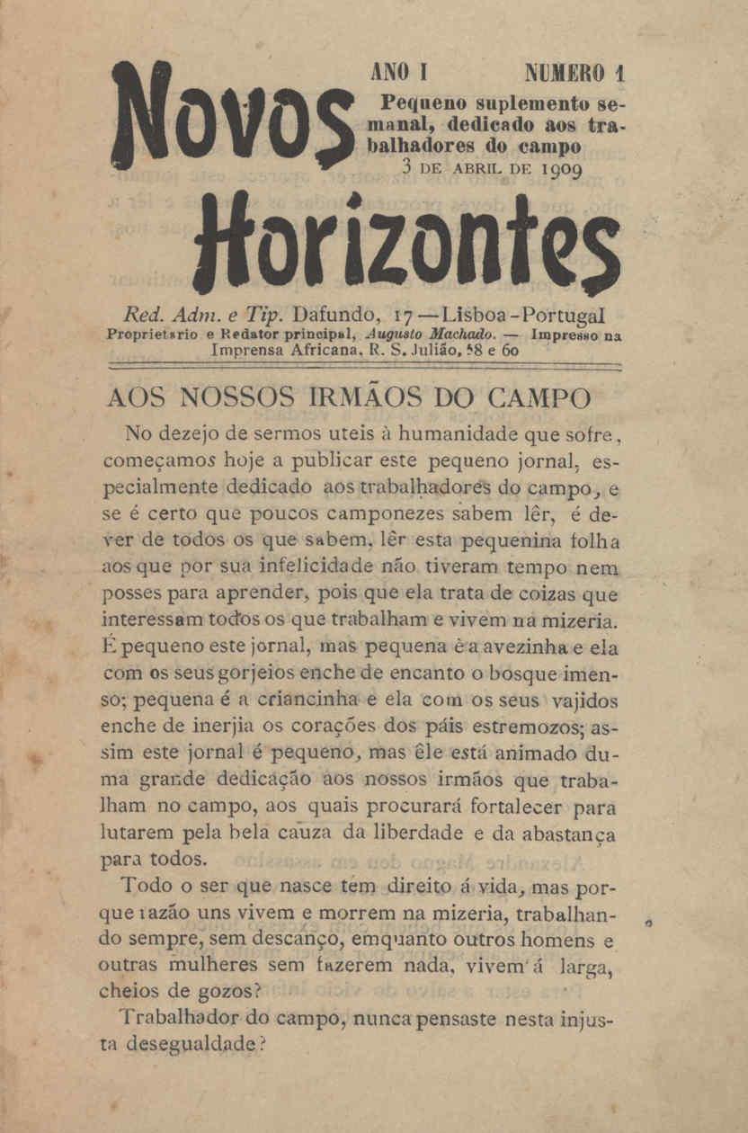 "Portada del primer número de ""Novos Horizontes"""